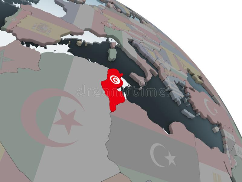 Tunisien med flaggan på jordklotet royaltyfri illustrationer