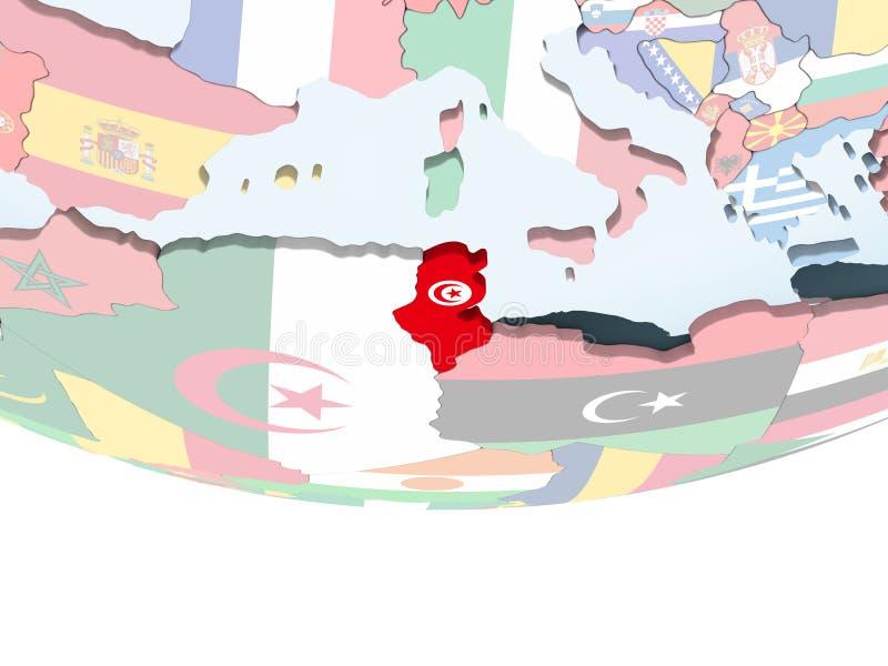 Tunisien med flaggan på jordklotet vektor illustrationer