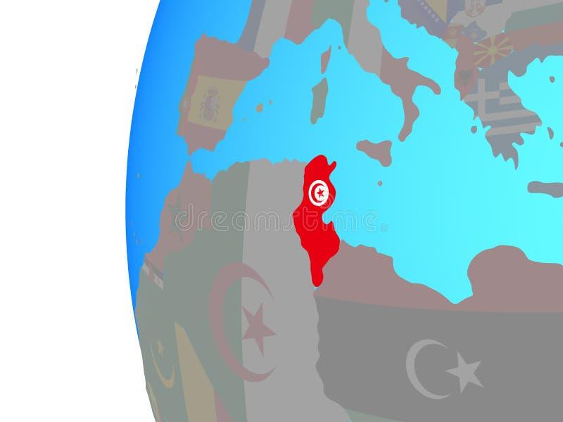 Tunisien med flaggan på jordklotet stock illustrationer