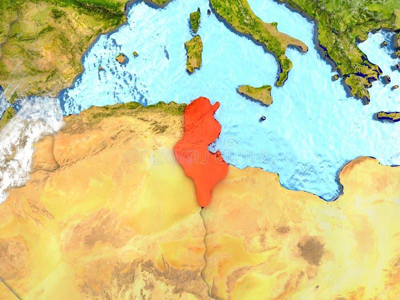 Tunisien på översikt med moln royaltyfri illustrationer