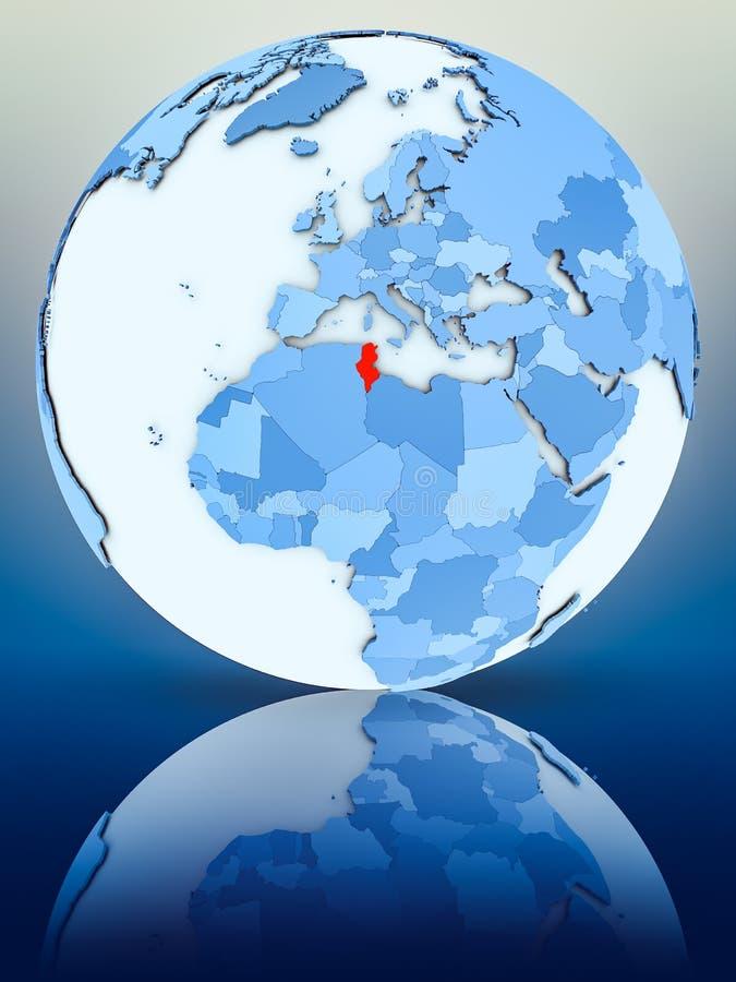 Tunisien på det blåa jordklotet vektor illustrationer