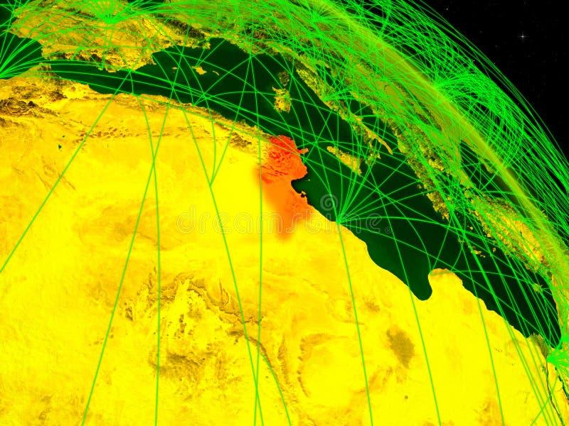 Tunisien på det digitala jordklotet royaltyfri illustrationer