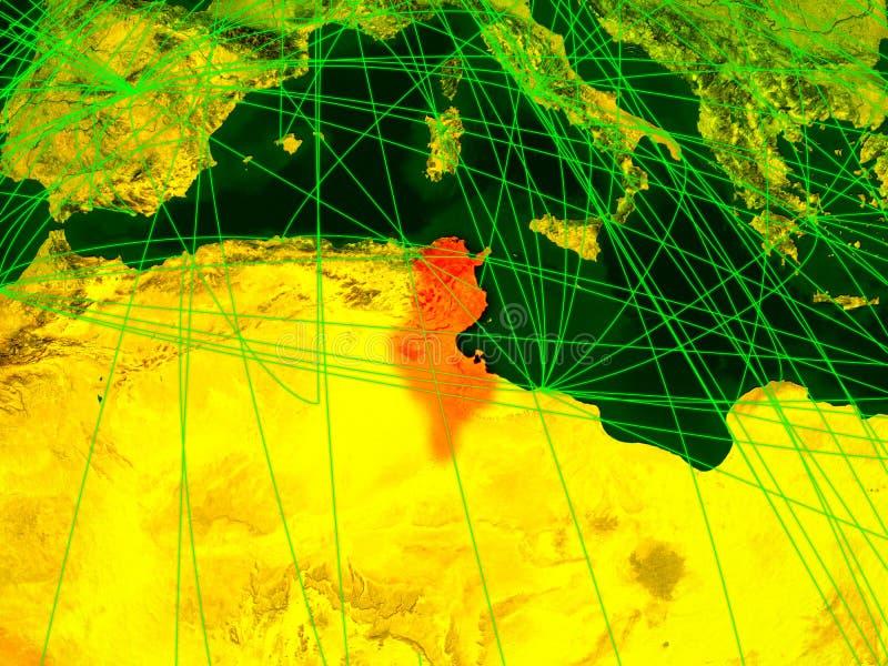 Tunisien på digital översikt vektor illustrationer