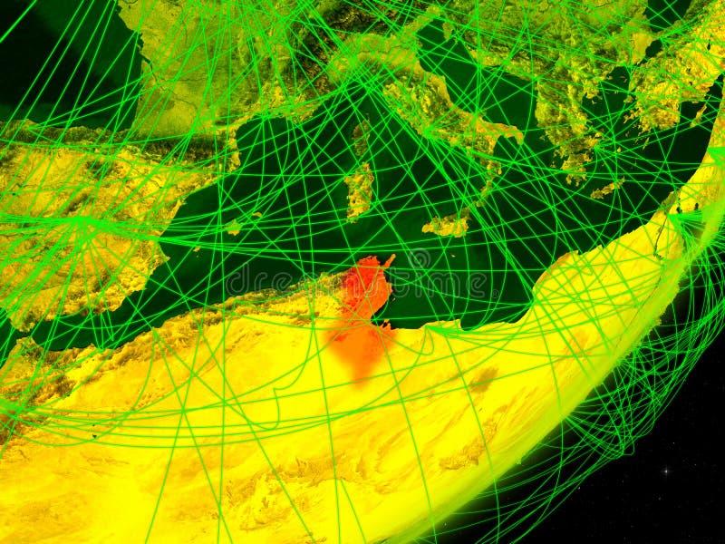 Tunisien på digital jord vektor illustrationer