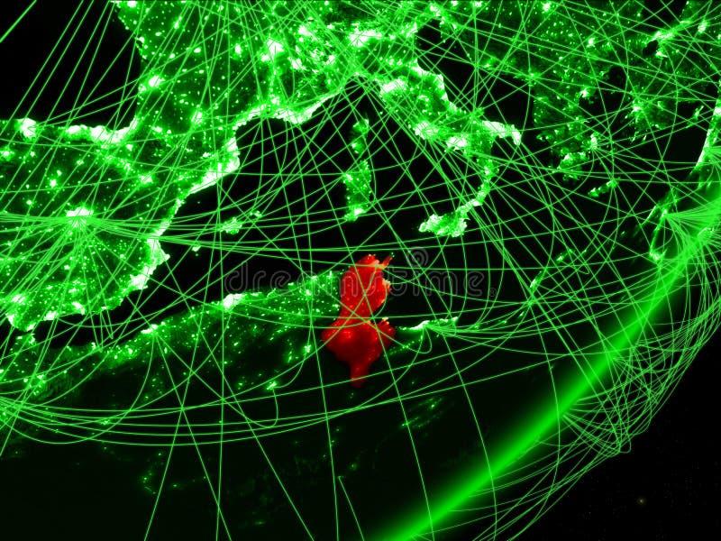 Tunisien på grön jord stock illustrationer