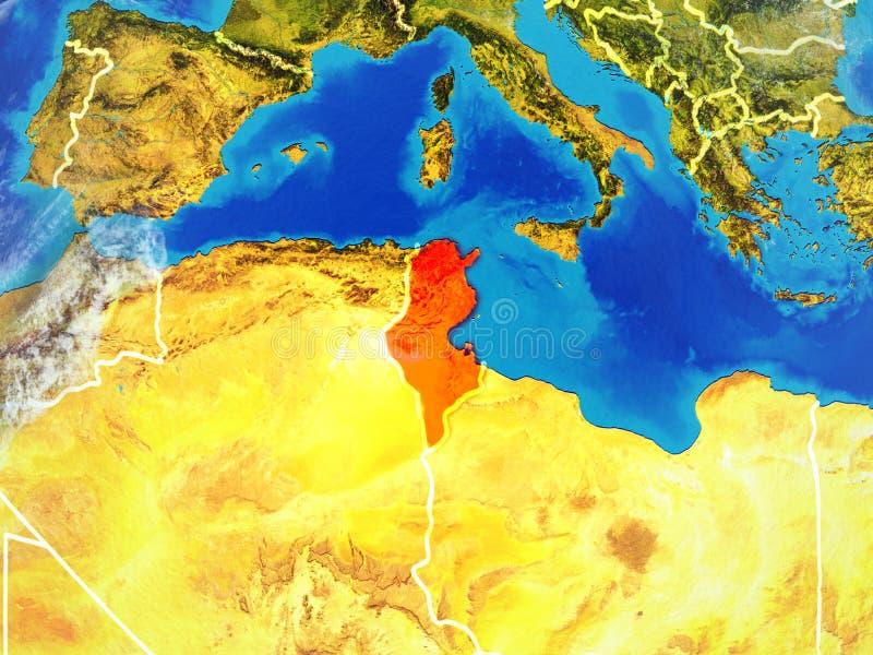 Tunisien på jord från utrymme stock illustrationer