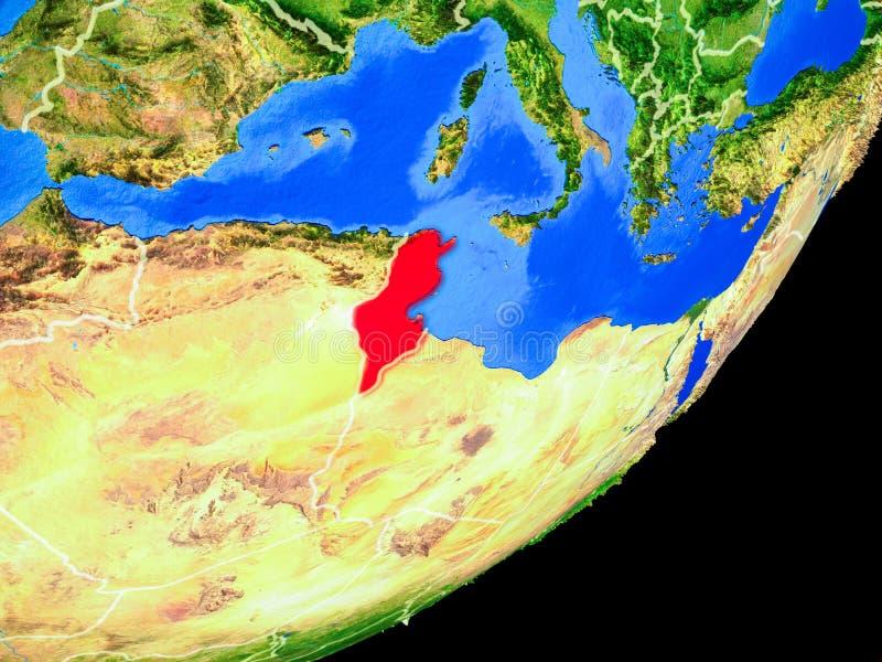 Tunisien på jord från utrymme vektor illustrationer
