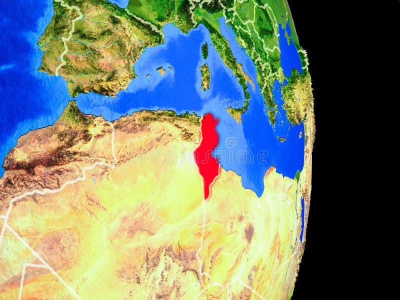 Tunisien på jordklotet från utrymme stock illustrationer