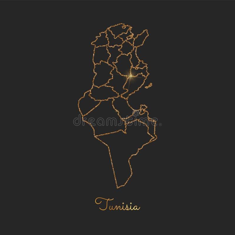 Tunisien regionöversikt: guld- blänka översikten med royaltyfri illustrationer
