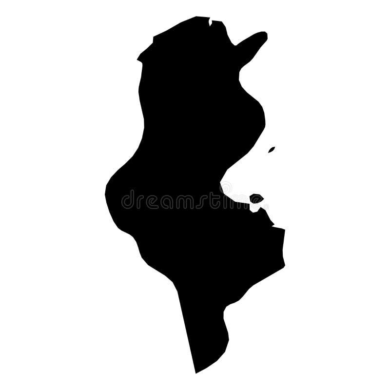 Tunisien - svart konturöversikt för heltäckande av landsområde Enkel plan vektorillustration royaltyfri illustrationer