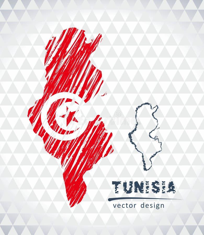 Tunisien vektoröversikt med flaggainsidan som isoleras på en vit bakgrund Skissa drog illustrationen för krita handen royaltyfri illustrationer