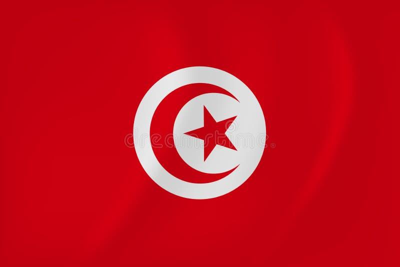 Tunisien vinkande flagga royaltyfri illustrationer