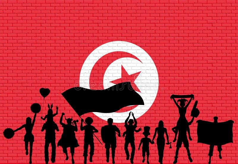 Tunisisk supporterkontur framme av tegelstenväggen med Tunisi royaltyfri illustrationer