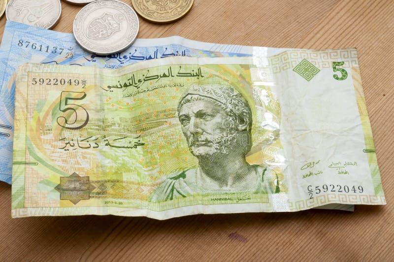 Tunisisk valuta, tunisiska dinar royaltyfri bild