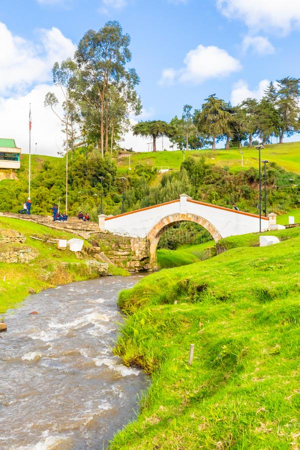 Tunja Colombia Boyaca bridge and river in a sunny day. Tunja, Colombia  May 27  Boyaca Bridge with its river, remind the soldiers died in the battle fought by stock photo