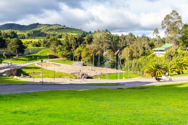 Tunja Colombia jubileums- område av striden av den Boyaca panoramautsikten arkivfoton