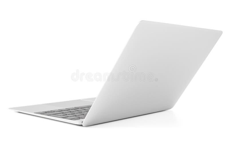 Tunn bärbar dator med det öppna locket, tillbaka sikt royaltyfria foton
