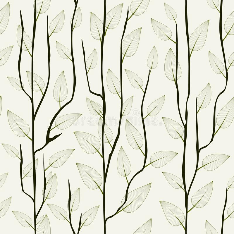 Tunn delikat trädfilial med sidor Sömlös trendig blom- bakgrund, tapet vektor illustrationer