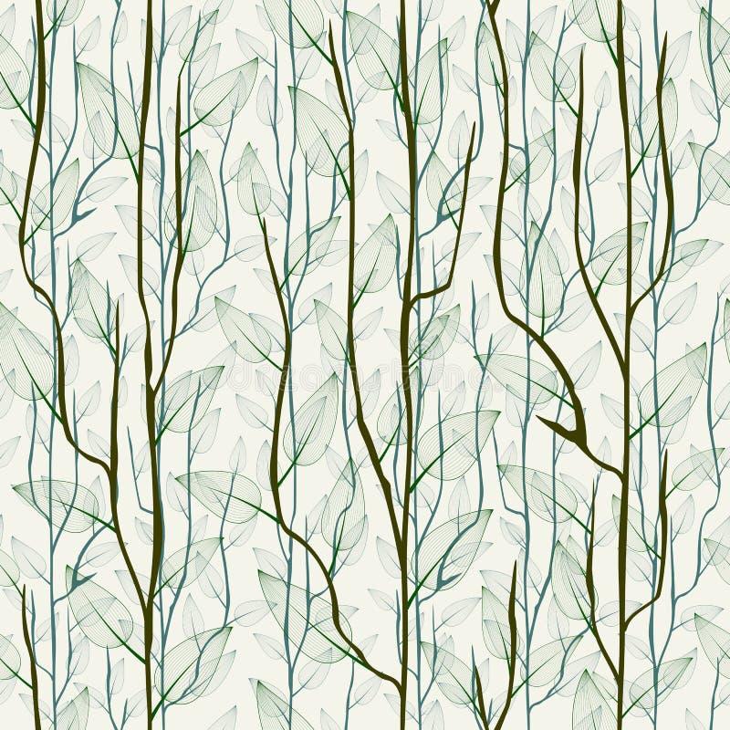 Tunn delikat trädfilial med sidor Sömlös trendig blom- bakgrund, tapet stock illustrationer