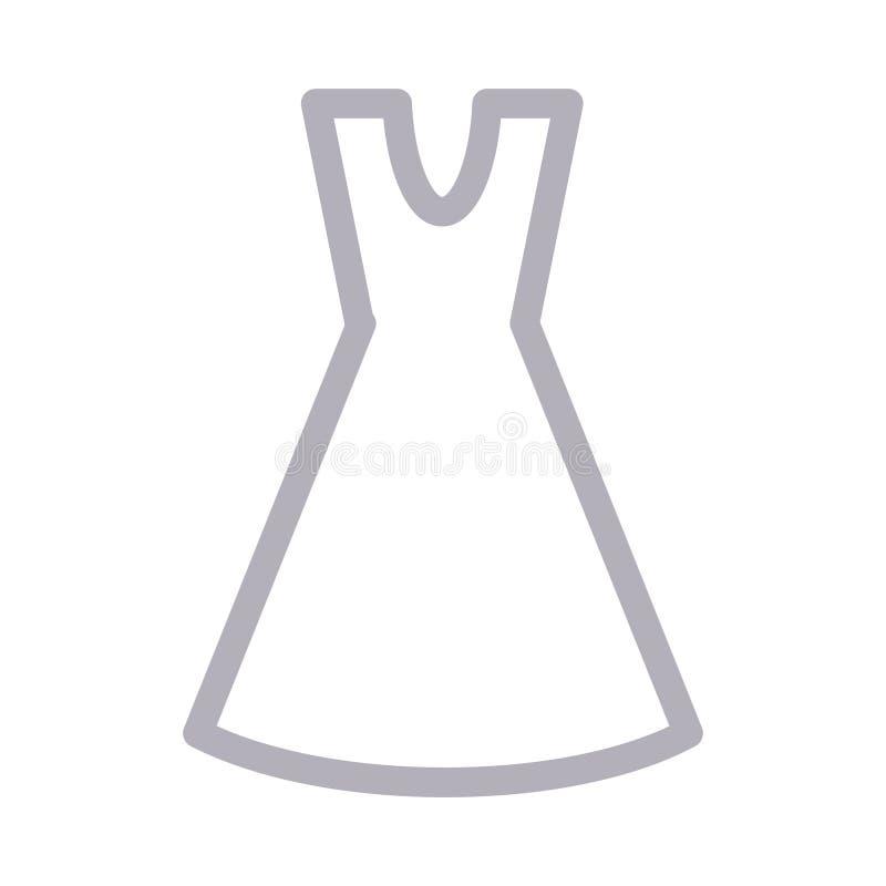 Tunn färglinje vektorsymbol för klänning stock illustrationer