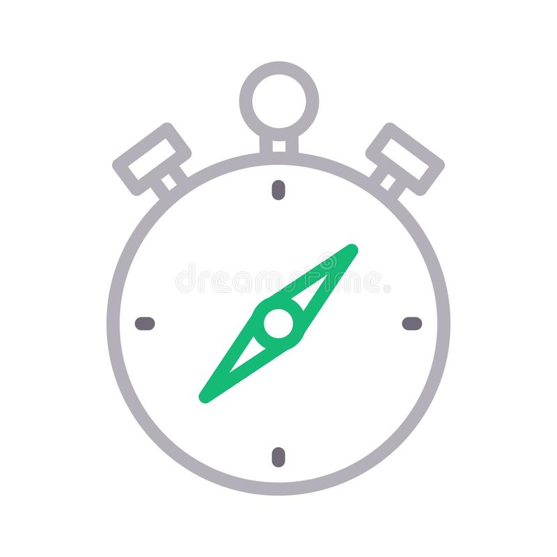 Tunn färglinje vektorsymbol för kompass stock illustrationer