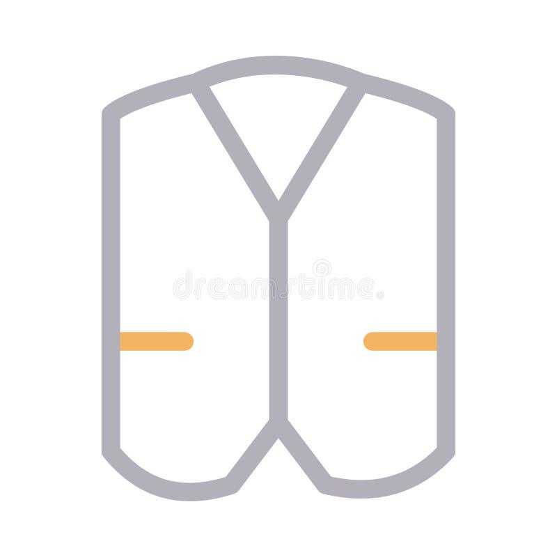 Tunn färglinje vektorsymbol för Waistcoat stock illustrationer