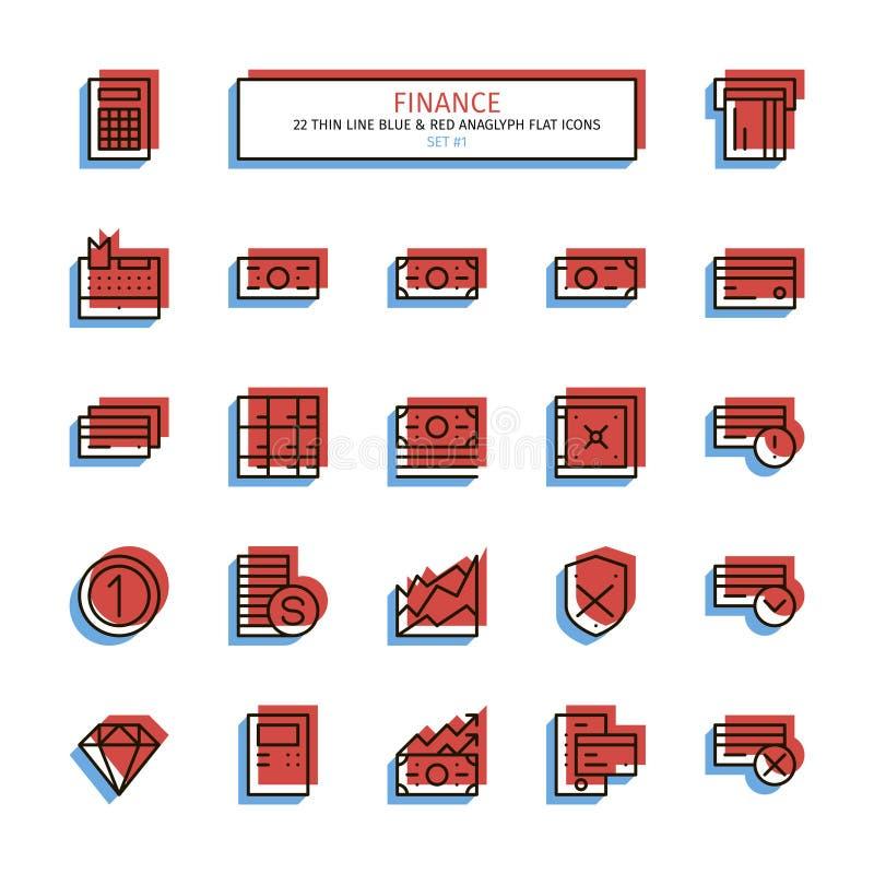 Tunn linje anaglyphstilsymboler Finans vektor illustrationer