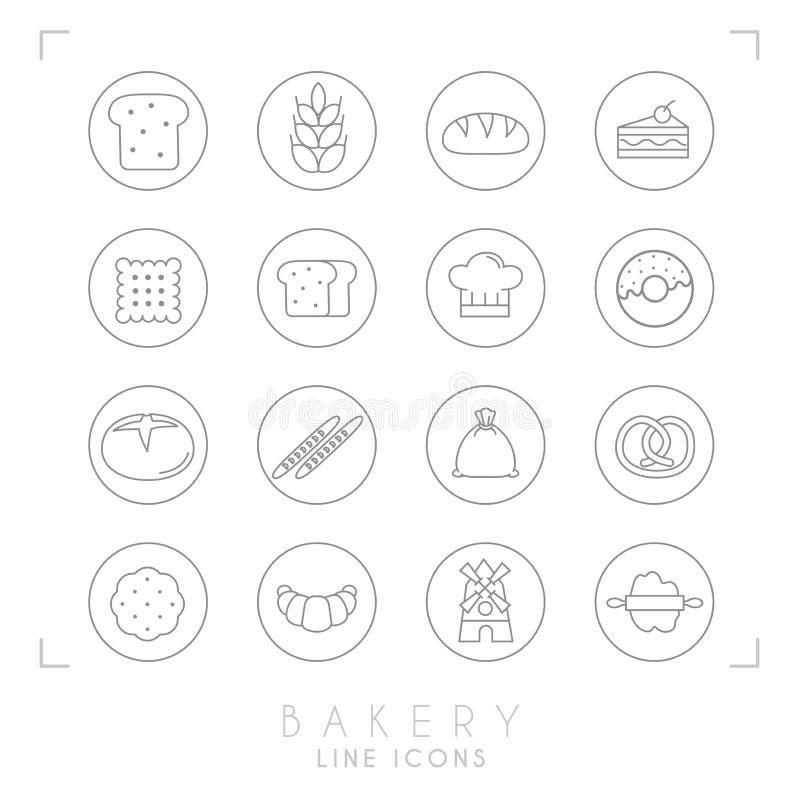 Tunn linje bagerisymboler i linjen cirklar Plan stil royaltyfri illustrationer