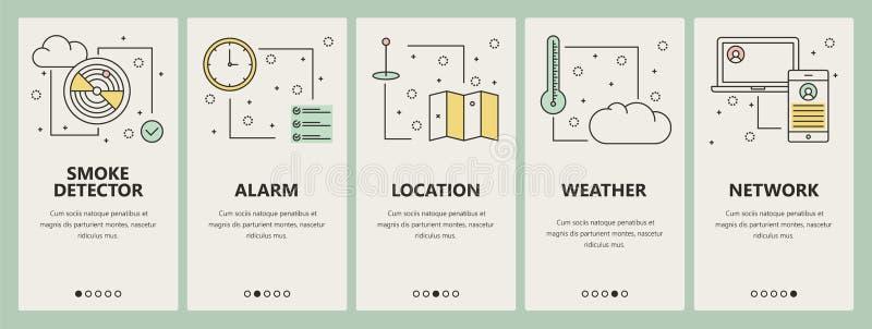 Tunn linje baner för vektor för lodlinje för begrepp för lägenhetdesign smarta hem- vektor illustrationer
