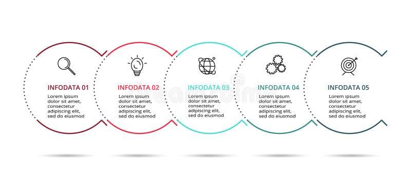 Tunn linje best?ndsdel f?r infographic Mall f?r diagram, graf, presentation och diagram Begrepp med 5 alternativ stock illustrationer