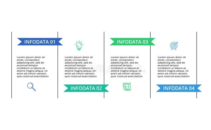 Tunn linje best?ndsdel f?r infographic Mall f?r diagram, graf, presentation och diagram Begrepp med 4 alternativ vektor illustrationer