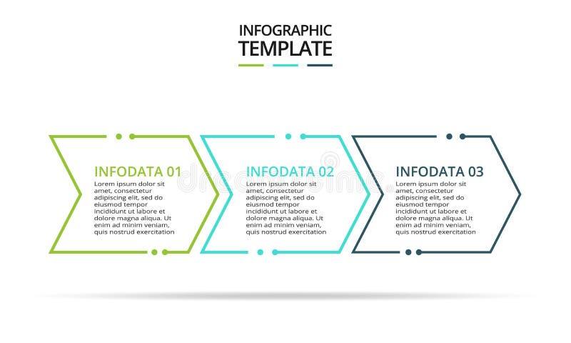Tunn linje best?ndsdel f?r infographic Mall f?r diagram, graf, presentation och diagram Begrepp med 3 alternativ stock illustrationer