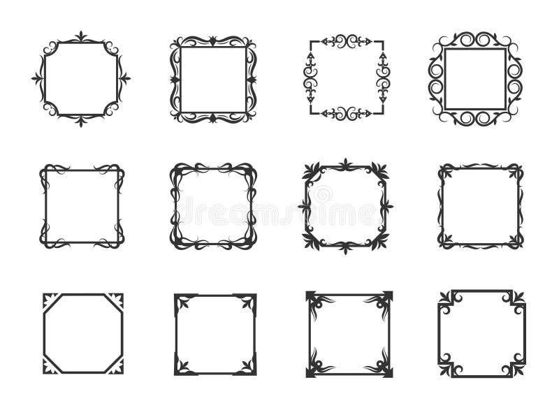 Tunn linje blom- ramar och linjära krusidullgränser för enkel virvel för inbjudanvektorillustration royaltyfri illustrationer