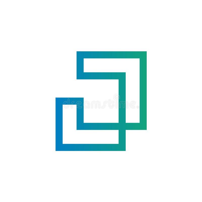 Tunn linje bokstav J Logo Icon vektor illustrationer