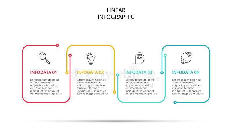 Tunn linje cirkulering som är infographic med pilar Modern mall för begreppsdesign med 4 alternativ, moment eller delar stock illustrationer