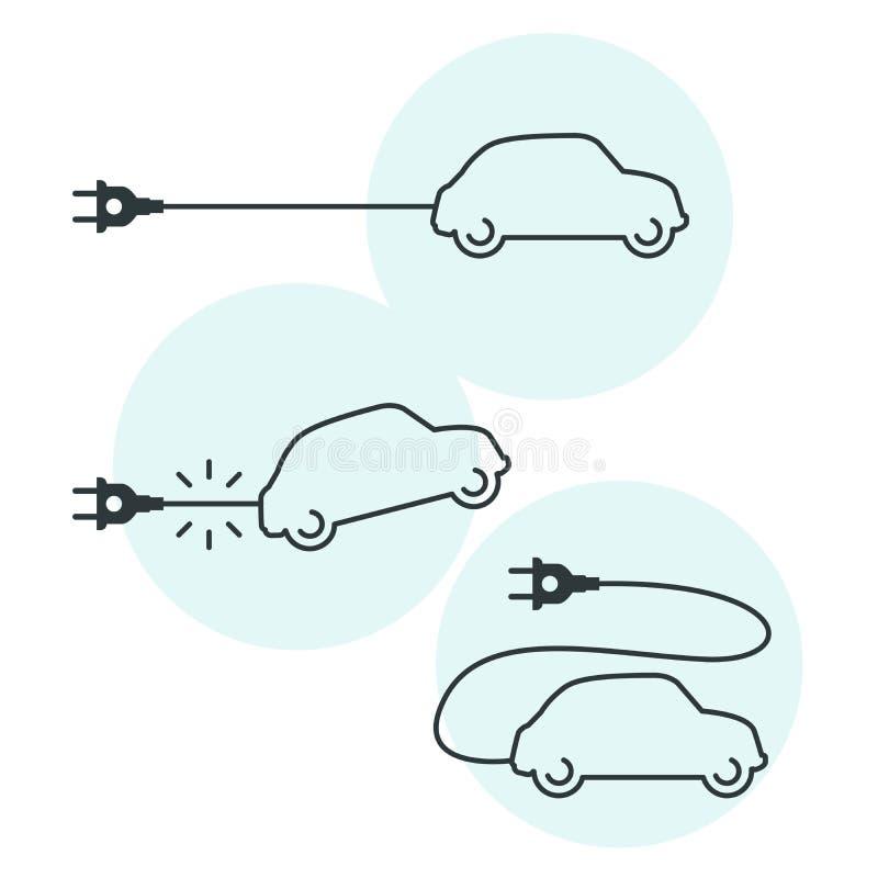 Tunn linje elbilsymbol med kabel och proppen - elektriskt beroende royaltyfri illustrationer