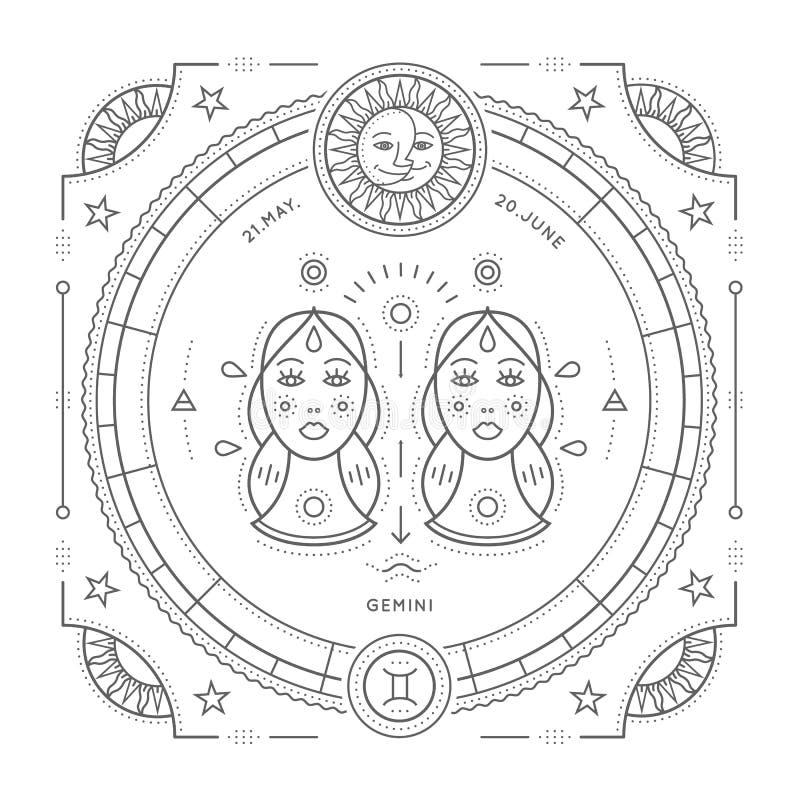Tunn linje etikett för tappning för Tvillingarnazodiaktecken Astrologiskt symbol för Retro vektor, mystiker, sakral geometribestå stock illustrationer