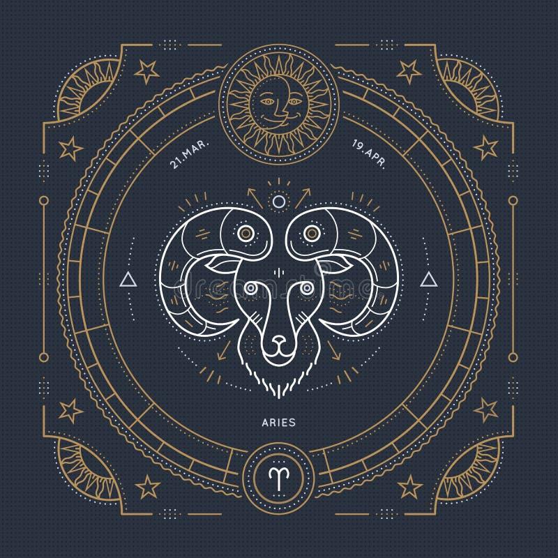 Tunn linje etikett för tappning för vädurzodiaktecken Astrologiskt symbol för Retro vektor vektor illustrationer