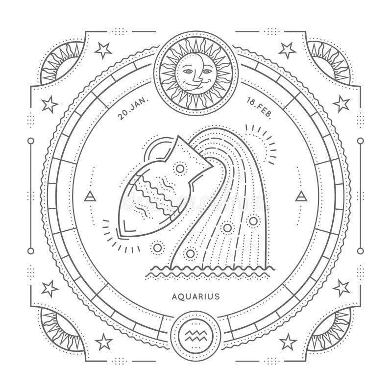 Tunn linje etikett för tappning för Vattumannenzodiaktecken Astrologiskt symbol för Retro vektor, mystiker, sakral geometribestån royaltyfri illustrationer
