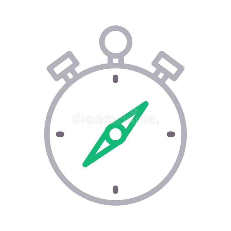 Tunn linje färgvektorsymbol för kompass vektor illustrationer