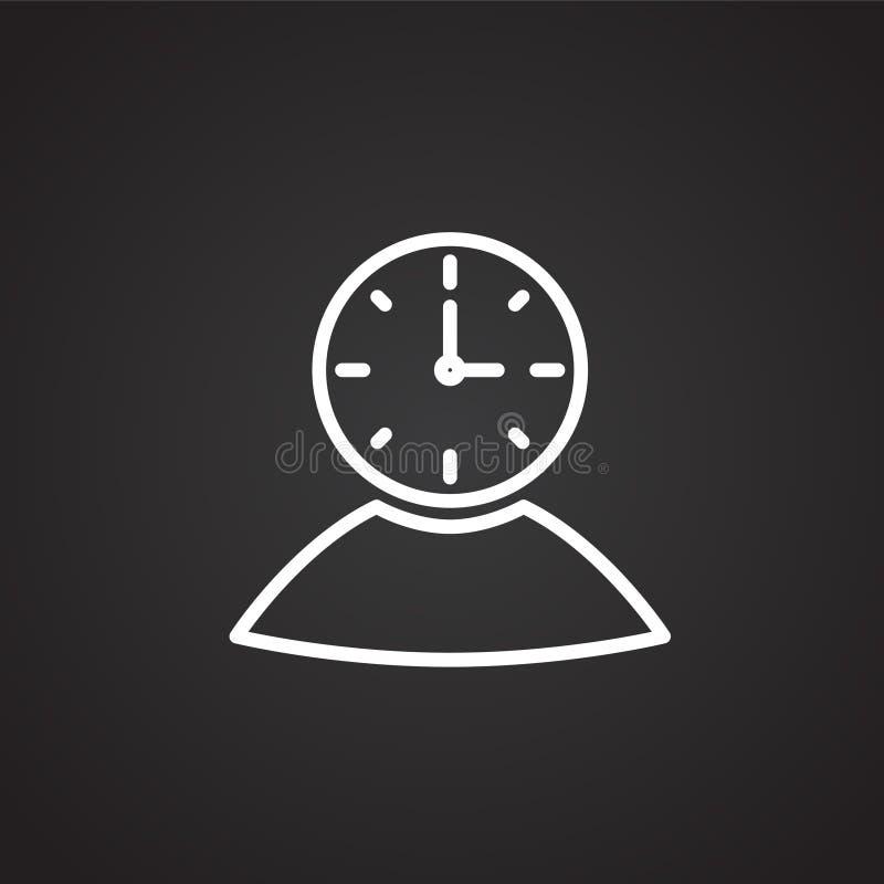 Tunn linje för affärsmantidledning på svart bakgrund stock illustrationer