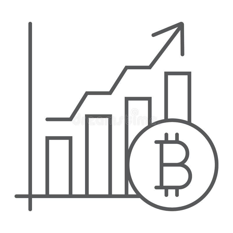 Tunn linje för Bitcoin diagram symbol, finans och ekonomi vektor illustrationer