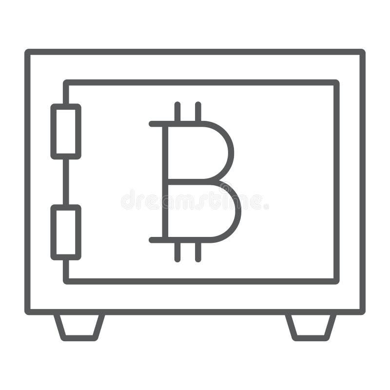 Tunn linje för Bitcoin lagring symbol, säkerhet och pengar royaltyfri illustrationer