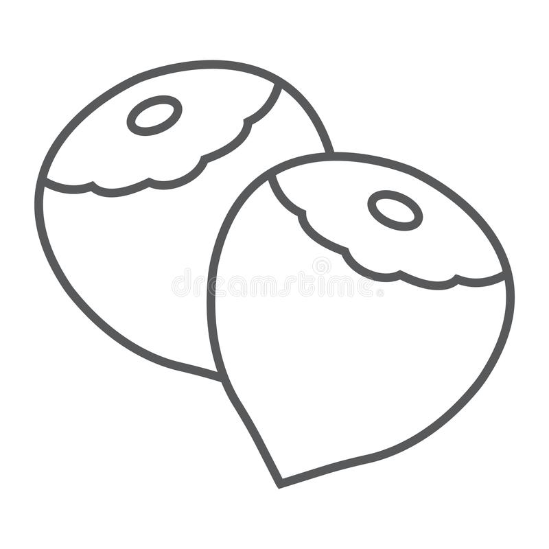 Tunn linje för hasselnöt symbol, grönsak och mutter, stock illustrationer