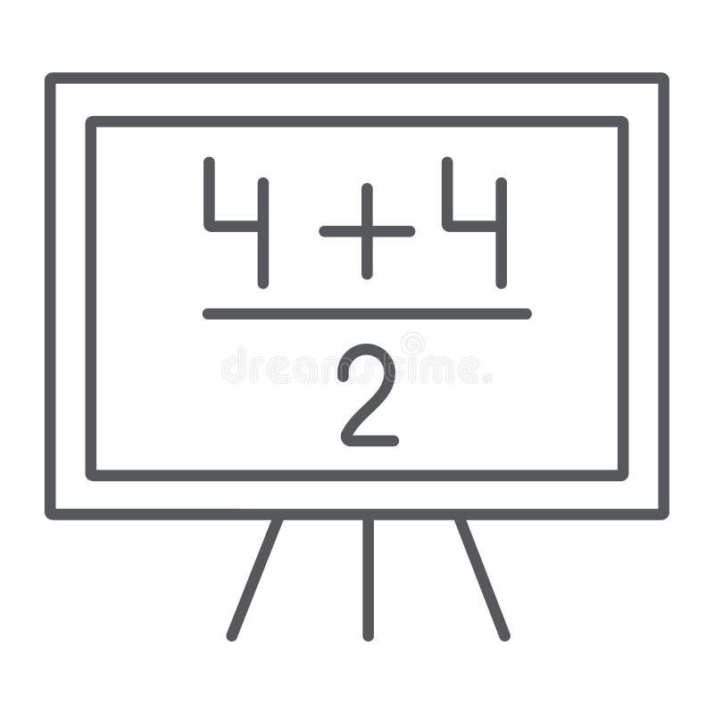 Tunn linje för matematikexempel symbol, kurs och matematiskt, svart tavla med aritmetisktecknet, vektordiagram, ett linjärt vektor illustrationer