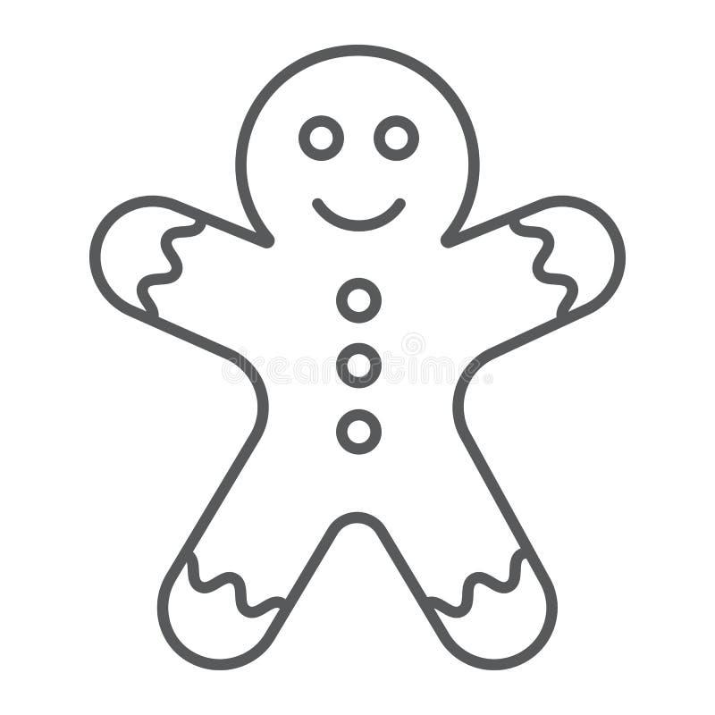 Tunn linje för pepparkakaman symbol, jul och sött, kakatecken, vektordiagram, en linjär modell stock illustrationer