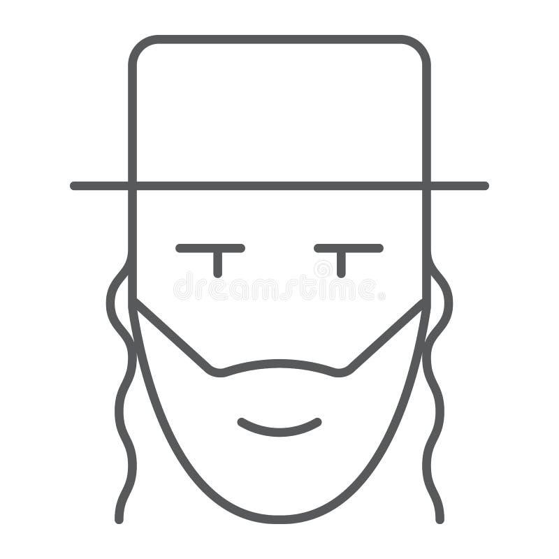 Tunn linje för rabbin symbol, Israel och person, judiskt mantecken, vektordiagram, en linjär modell på en vit bakgrund stock illustrationer