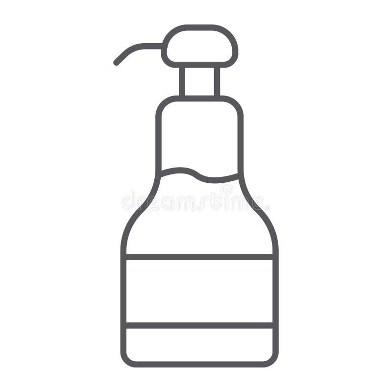 Tunn linje för sirap symbol, mat och sött, sirapflasktecken, vektordiagram, en linjär modell på en vit bakgrund royaltyfri illustrationer