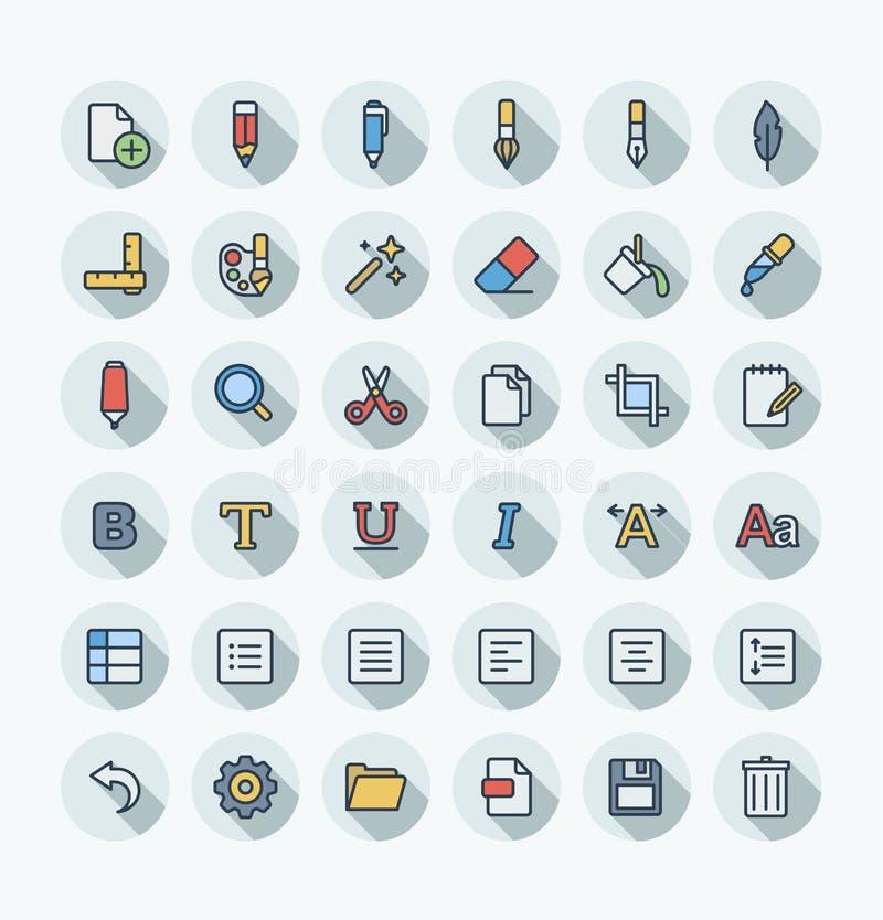 Tunn linje fastställda symboler för vektorlägenhetfärg och beståndsdelar för grafisk design Illustrationen med text redigerar, di stock illustrationer