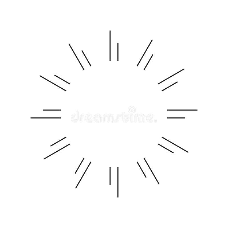 Tunn linje garneringvektor för enkla skenstrålar vektor illustrationer